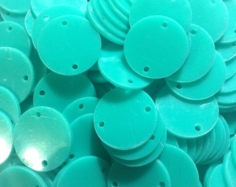 """2 Hole Acrylic Disc - BLANK - 1.25"""" Across - 2 Holes for Bangle Making, Necklace or Keychain, Jewelry Making - Flat Rate Shipping!!"""