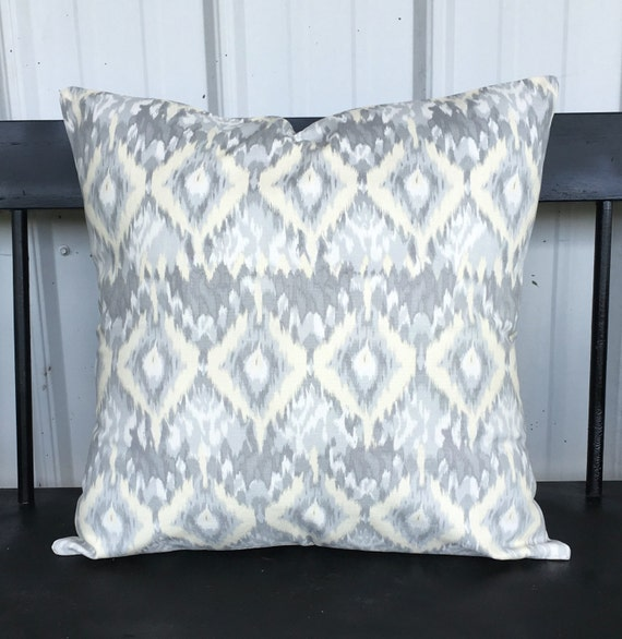 Pillow cover 14x14 Living room pillow gray white pale yellow