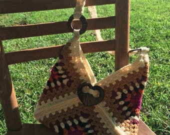 Crocheted Bohemian Inspired Handbag