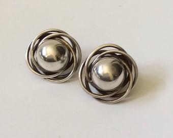 Carmen Beckmann Taxco MidCentury Modernist Sterling Silver Earrings