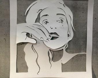 Hand cut paper portrait sample