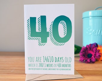 40th birthday card | Milestone birthday card | Personalised greetings card | 40 today!