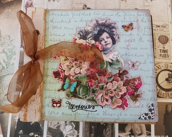 Memories vintage style scrapbooking and photo box Wooden shabby photo scrapbooking  memories box Cute floral butterflies glitter Journal