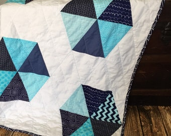 Aqua and Navy Quilt, Michael Miller Fabric, Triangle Quilt, Boy Quilt, Octagon