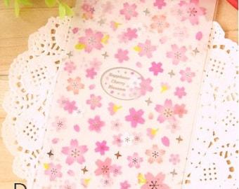 1 Sheet Japanese Glitter Sakura Cherry Blossom Stickers