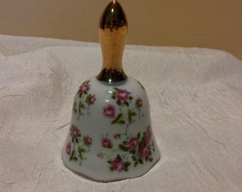 Enesco Pink Roses Porcelain Bell