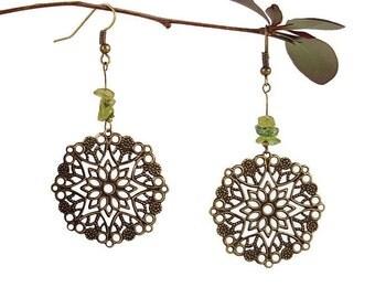 Zodiac jewelry Peridot earrings dangle August birthstone jewelry Leo zodiac earrings Birth stone earrings Natural stone jewelry peridot Mayi
