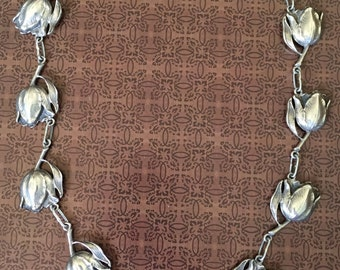 Art Nouveau 800 Silver Tulip Flower Necklace