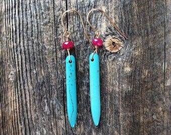 Gemstone earrings - dangle earrings - turquoise spike earrings - gold filled earrings