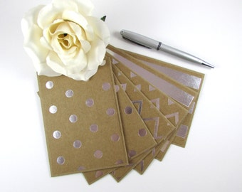 Note Cards, Set of 6, Silver Foil Note Cards, Stationery, Handmade, Blank Inside