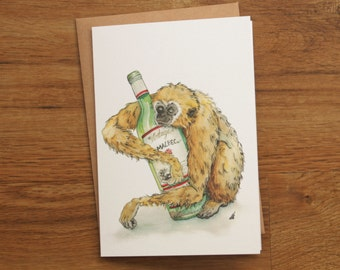 Red wine snooze: Hand Drawn Card