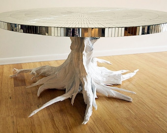 Nice Large Driftwood Table With Mirror Mosaic Top. Handmade From Reclaimed  Driftwood