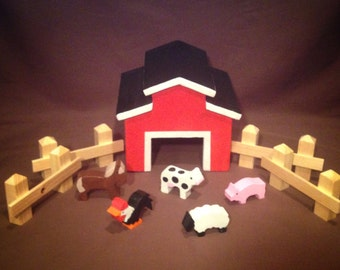 Red Toy Barn with Barnyard Animals and Fence - Handmade from Wood