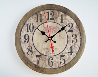 Large Distressed Wall Clock Etsy