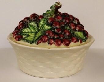 Grape Majolica Lidded Serving Dish