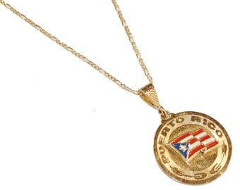 Puerto Rico Flag Pendant with 22 inch Chain - Puerto Rico Flag  Necklace