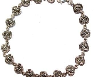Heart Marcasite Bracelet .925 Sterling Silver 7 inch - Heart Bracelet