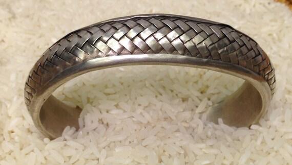 Bracelet Silver Cuff Hill Tribe Miao HandmadeHand Woven Silver Jewelry Bracelet  Silver Cuff Man Woman Tribal Unique