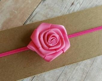 Pink Headband/ Small Flower Headband/ Ribbon Headband/ Baby Pink Headband/ Pink Flower Headband/ Spring Headband/ Pink Headband Baby
