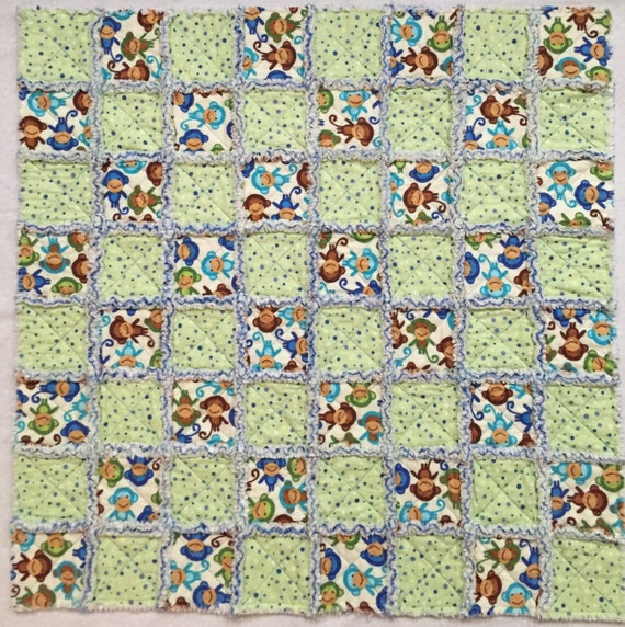 Baby Rag Quilt, Little Monkeys Baby Quilt, Flannel Rag Quilt, Quiltsy Handmade