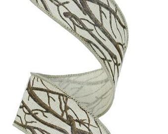 """1.5"""" Tree Branch Ribbon, Tree Bark Ribbon, Hunting Ribbon, Wired Ribbon, Outdoors Ribbon - (10 Yards)- RG183418"""