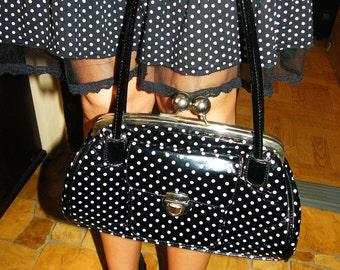 Vintage Black patent ladies handbag