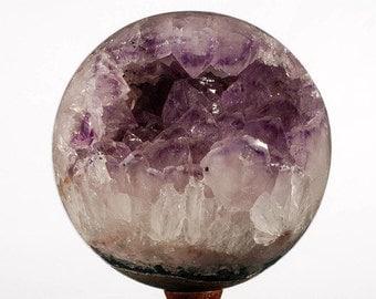 Amethyst ball, dark crystals, approximately 2148 grams