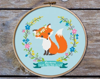 Customisable Cross Stitch Pattern, Birth Announcement Cross Stitch pattern, Fox Cross stitch pattern,modern cross stitch pattern, Little Fox