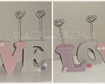 Freestanding Wooden Photo Clip Letters