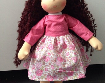 Doll-inspired Waldorf / Steiner 42 cm with her outfit. Made with organic cotton, wool, mohair
