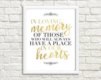 In Memory Sign, Digital File, Instant Download