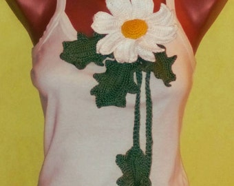 Bohemian, Daisy Crochet Necklace, 2 in 1 accesorie, daisy belt, Lariat necklace, crochet flower