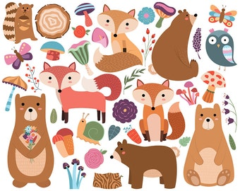 Woodland Animals and Floral Designs Clipart - Set of 38 Vector & PNG Files - Spring, Cute, Bright, Owls and Other Critters Clip Art
