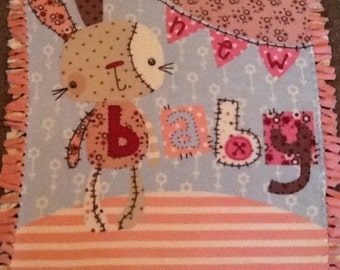 Rag bunny baby fleece tie blanket, nursery blanket, reversible fleece tie blanket