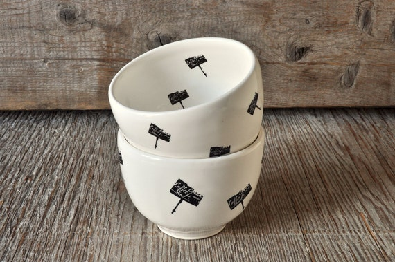 Set of 2 porcelain coffee bowls with vintage COFFEE SHOP signs