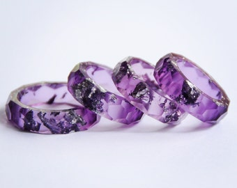 Purple with silver flake Eco resin faceted stacking ring