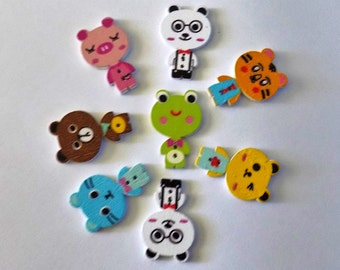 8 Wooden Animals Buttons #SB-00214