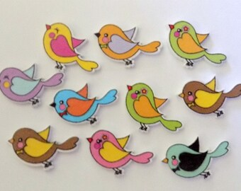 10 Little Birds - Quilting Buttons - Sewing Buttons - Embellishments - #SB-00167
