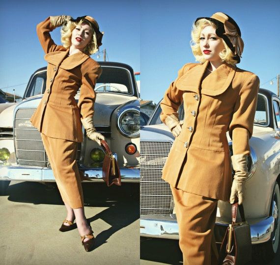 Vintage Lilli Ann Suit With Peplum Waist - Late 1940's/Early 1950's with Rhinestone Buttons