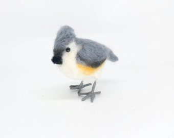 Tufted titmouse, needle felted bird sculpture, felted titmouse, wool bird, needle felt bird, small bird, tiny bird sculpture, song bird