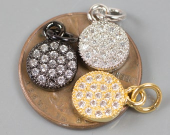 Coin CZ Gold, Gunmetal, Silver Pave Small Charm