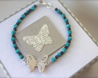 Silver Butterfly Bracelet with Turquoise & Pyrite Crystals