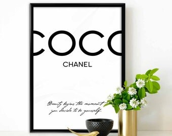 Coco Chanel - Beauty begins the moment you decide..., Print Fashion Typography, Motivational  Wall Print  Digital Art, Coco Chanel poster