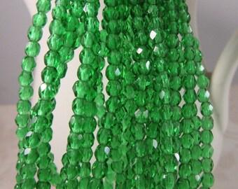 ROYAL GREEN 3mm Green Emerald Firepolish Czech Glass Faceted Round Beads - Emerald Green Kelly Green - Qty 50 3-070