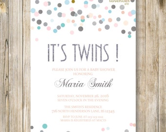 TWINS SHOWER INVITATION, It's Twins, Silver Blue Pink Twin Baby Shower Invite, Neutral Baby Sprinkle, Twin Boy and Girl, Printable Digital