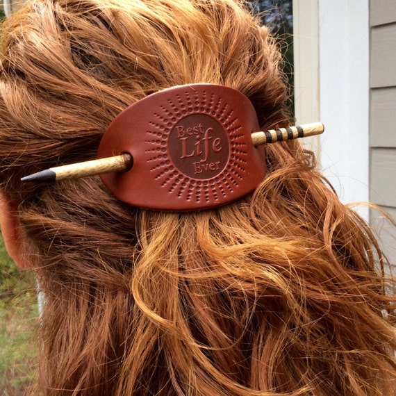 Best Life Ever Top Grain Leather Barrette,  with Wooden Stick, Earthtones