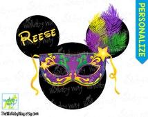 Minnie Mardi Gras Printable Iron On Transfer or Use as Clip Art - DIY Disney Shirt - Personalized, Carnival, Circus, Mickey Head Ears Mask