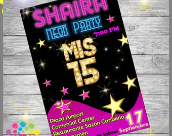 SWEET SIXTEEN!!! Party Invitation!!!Neon Party!!!