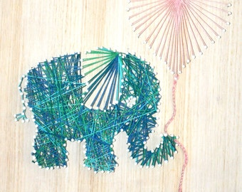 Elephant and Heart Balloon String Art