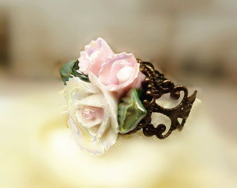 Art Deco Ring, Bridesmaid Flower Ring, Adjustable Ring, Ceramic Rose Ring, Porcelain Ring, Vintage Style Jewelry, Unique Friendship Gift